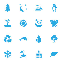 Set Of 16 Bio Icons Set.Collection Of Polar Bird, Winter Snow, Moth And Other Elements.