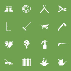 Set Of 16 Horticulture Icons Set.Collection Of Garden, Lawn Mower, Pruner And Other Elements.