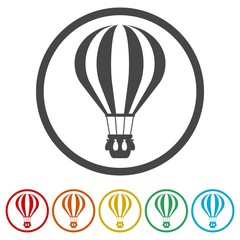 Hot Air Balloon icons set - Illustration