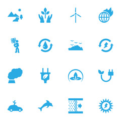 Set Of 16 Ecology Icons Set.Collection Of Treatment, Purification, Energy And Other Elements.