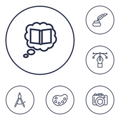 Set Of 6 Constructive Outline Icons Set.Collection Of Inkwell With Pen, Palette, Dividers And Other Elements.