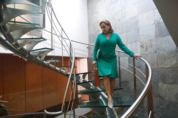 Claudia Ruiz Massieu, Secretary General of the Institutional Revolutionary Party descends the stairs before an interview in Mexico City