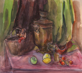 Watercolor texture painting, still life painting large Russian teapot and cup of tea.