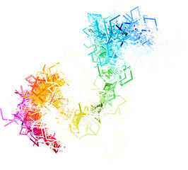 Colorful lines on white background