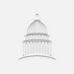 White Capitol Building. 3D Render Illustration
