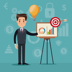 color background analytics investment with businessman in presentation