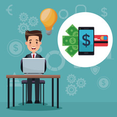 color background analytics investment with businessman in desk and app for money