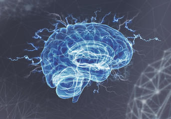 Concept of human intelligence with human brain on dark background