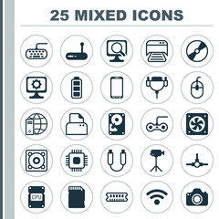 Computer Icons Set. Collection Of Accumulator Sign, Printed Document, Memory Card And Other Elements. Also Includes Symbols Such As Movie, Memory, Hdd.