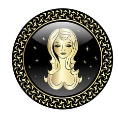 Virgo zodiac sign in circle frame