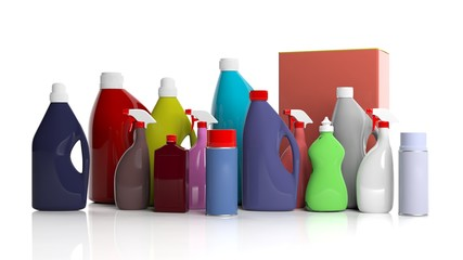 Set of cleaning products on white background. 3d illustration