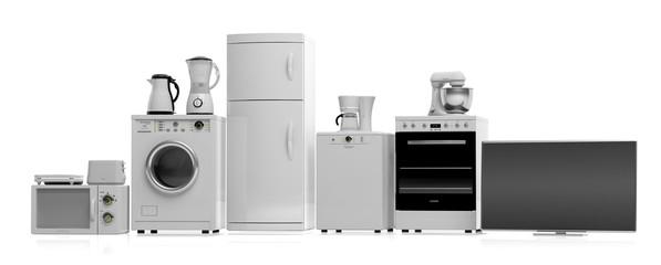 Home appliances on white background. 3d illustration