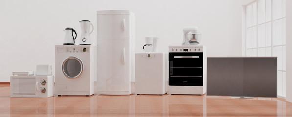 Home appliances on wooden floor. 3d illustration