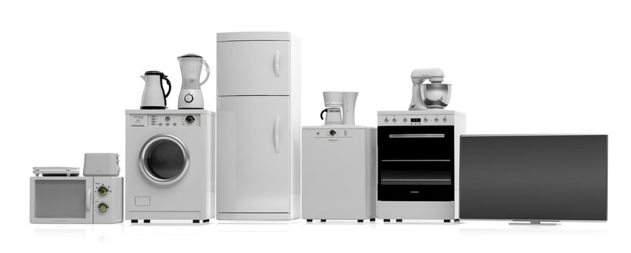 Home appliances on white background. 3d illustration