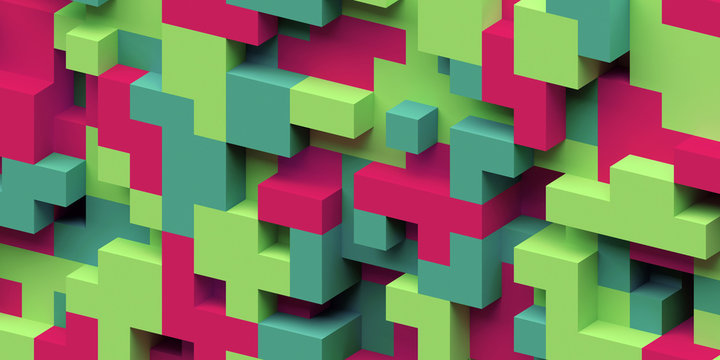 3d render, abstract geometric background, colorful constructor, logic game, cubic mosaic structure, isometric wallpaper, red green cubes