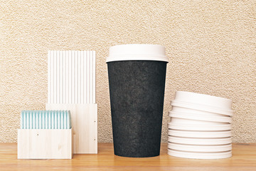 Black coffee cup and other items