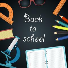 Back to school. Blackboard with school supplies. Vector illustration.