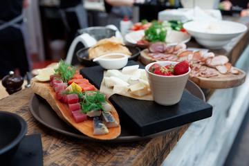 Platter of food on restaurant counter