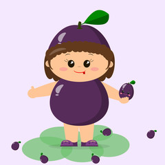 The kid is dressed in a purple plum.