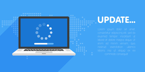 System software update and upgrade concept. Loading process in laptop screen. Vector illustration