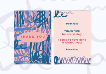 Marker Scribbles Thank You Card Layout 1