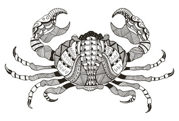 Zodiac sign - Cancer. Vector illustration. Crab. Zentangle stylized. Horoscope. Pattern. Hand drawn. Freehand pencil.