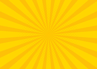 Yellow Retro vintage style background with sun rays vector illustration Fototapete