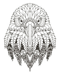 Eagle head zentangle stylized, vector, illustration, freehand pencil, hand drawn, pattern. Zen art. Ornate vector. Lace. Coloring.