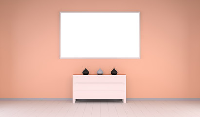 Empty canvas on a wall and chest of drawers 3D rendering