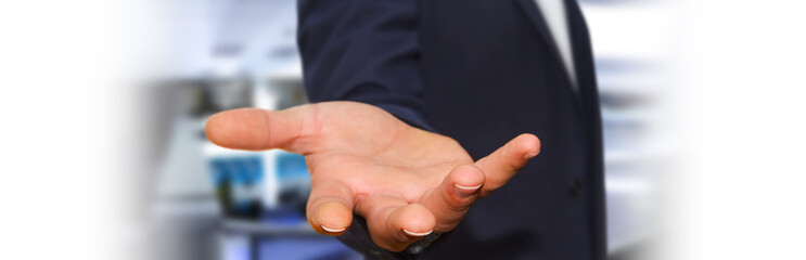 Panorama view of empty businessman hand