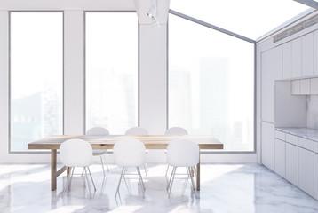 White kitchen interior, attic toned