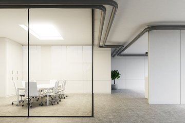 Close up of a glass meeting room, lobby