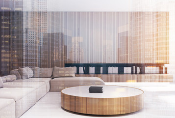 Wooden living room interior, round table toned