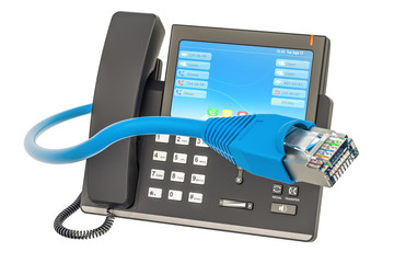 Communication concept. IP phone with lan cable, 3D rendering