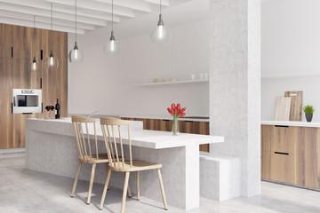 Marble bar white kitchen, oven