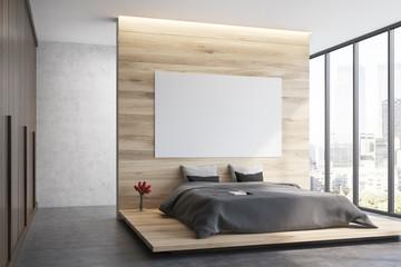 Wooden bedroom, side view