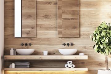 Wooden bathroom interior, sinks, tree