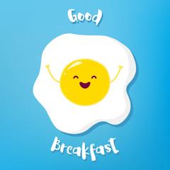 Cartoon fried egg raises hands and smiles. Vector illustration.