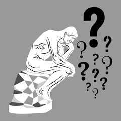 Thinking man and a lot of question marks. Vector illustration.