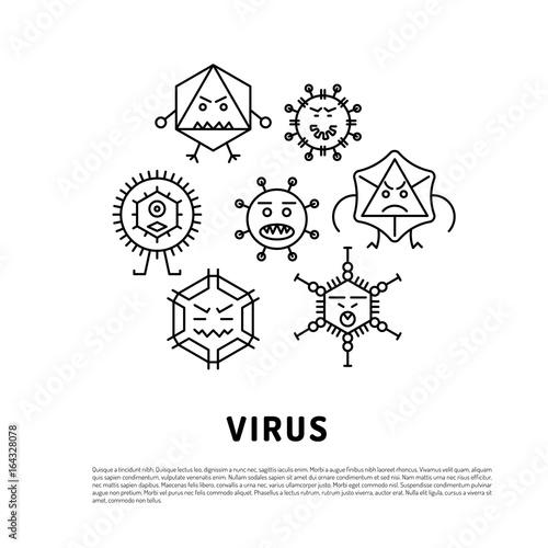 Cartoon Virus Character Vector Illustration On White Background