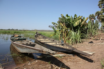 African traditional wooden boat