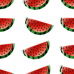 Vector watercolor seamless pattern with watermelons on the white background for decoration, gift wrapping paper and covering. Concept of summer and vacation.
