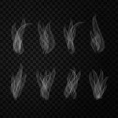 Vector set of realistic isolated smoke on the transparent background.