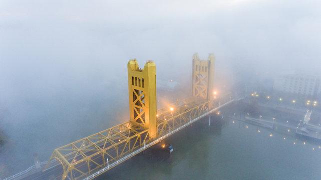 Fog over the Tower Bridge in Sacramento