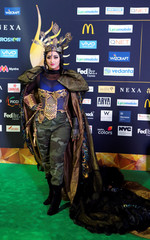 Singer Raja Kumari poses for a picture on the Green Carpet at the International Indian Film Academy Rocks show at MetLife Stadium in East Rutherford