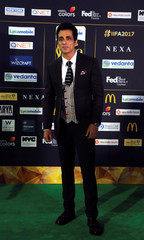 Actor Sonu Sood poses for a picture on the Green Carpet at the International Indian Film Academy Rocks show at MetLife Stadium in East Rutherford