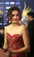 Actress Tapsi poses for a picture on the Green Carpet at the International Indian Film Academy Rocks show at MetLife Stadium in East Rutherford