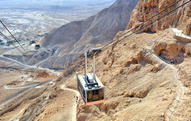 Cable car to fortress Masada (Judaean Desert, Dead Sea,Israel)