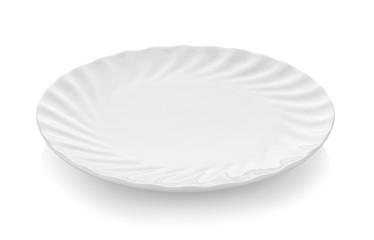 Beautiful shape ceramic plate on white background