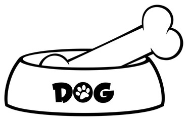Black And White Dog Bowl With Bone Drawing Simple Design. Illustration Isolated On White Background